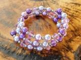 Lavender Pearl & Crystal Memory Wire Bracelet