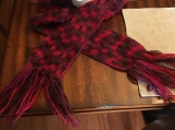 Multi-Colored Crochet Scarf with Fringe
