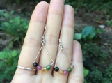 Natural tourmaline sterling silver earrings