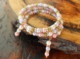 Pink Pearl Memory Wire Bracelet
