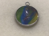 Rainbow glass pendant artisan silver plated setting