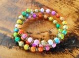 Rainbow Pearl Memory Wire Bracelet