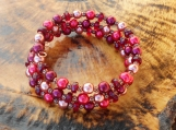 Red Pearl & Copper Memory Wire Bracelet