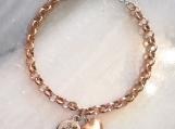 Rose Gold Mixed Metal Christian bible verse heart charm bracelet