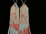 Seed Bead Earrings Extra Long Fringe Coral Blue Dusters