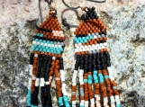 Seed Bead Earrings Hand Woven Southwestern