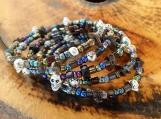 Silver & Black Skull Memory Wire Bracelet