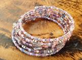 Silver Pink & Purple Butterfly Memory Wire Bracelet