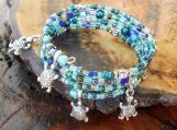 Silver Turtle Memory Wire Bracelet