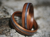 Wood Wedding Set - Kingwood with Lapis Lazuli Stone Inlay