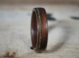 Wooden Ring, Green Opal and Santos Rosewood - Bentwood -  Wooden Wedding Ring -  Mens Engagement - Anniversary - Custom - Handmade