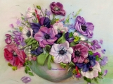 Anemones  Purple White Pink Ribbon embroidered picture Ribbon