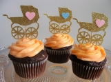 Baby Carriage Toppers, Baby Shower Decor. Gender Reveal Party