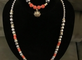 Beautiful Orange & Gray Necklace