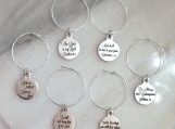 Custom Christian bible verse wine glass charms in steel