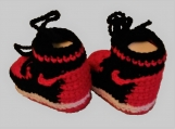 Crochet booties, Crochet baby shoes RED