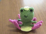 Crochet Princess Frog and Water Lily Throne