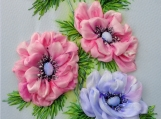 Decorative Embroidery Art Ribbon embroidery picture Anemones