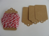 Gift Tag with Red/White Baker's Twine