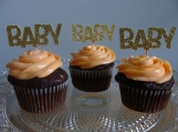 Gold Baby Shower Cupcake Toppers, Gender Reveal Cupcake Topper