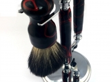 Handmade Shaving Set Roulette Style, Hand Turned Black and Red acrylic Chrome Shave Set, Mens Christmas , Casino, Mach 3 Razor Gift
