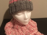 Hat Scarf Set - Pink/Gray/White