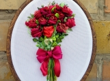 Hoop Ribbon Embroidery Art Red roses Silk ribbon embroidery