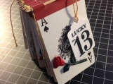 Lucky No. 13 found object artist book, playing cards, good luck fortune unlucky