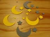Moon and Star Confetti, Yellow and Gray Moon and Star Die Cuts