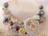 Fiber art Necklace Boho style,ribbon flowers,textil jewelry
