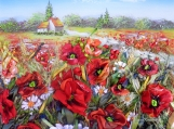 "Picture ""Poppies in the wild"" landscape Embroidery art"