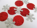 Red and Silver snowflake confetti, christmas confetti