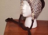 Ribbed Hat with Braided Ties - Blue/Brown