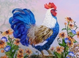 "Ribbon embroidery picture ""Rooster"" , farmhouse decor embroidery"