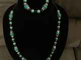 Teal & Black Necklace & Bracelet Set