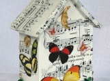 Tiny house butterlies with music, found object art, with a bird