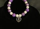Unique Beaded Purple and Light Gray Bracelet