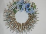 141 Four Miles Stripes Clothespins Wreath Decor