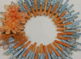 143 Turquoise Rust Clothespins Wreath Decor