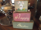 Happy Easter/Bunny primitive wood shelf sitters sign