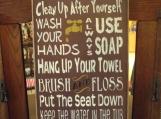 Bathroom Rules  primitive wood sign