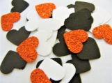 Black Red and White Heart Confetti