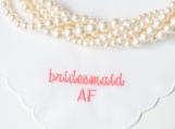bridesmaid AF living coral wedding handkerchief