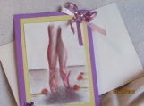 Ballet Note Card -yellow/purple