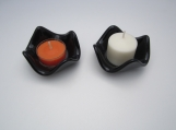 Candle holders, fused glass