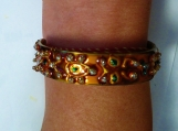 double side painted Indian motif cuff bangle / bracelet