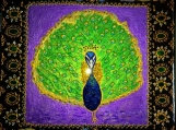 exotic Indian art with Mughal and Rajasthani motif-lacquer finish-oil, acrylic, 8x8 canvas
