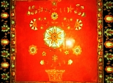 exotic Indian art with Mughal and Rajasthani motifs-lacquer finish-acrylic on 12x12 ceramic tile