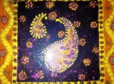 exotic Indian art with Mughal and Rajasthani motifs-lacquer finish-acrylic on 8x8 canvas