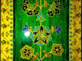 exotic Indian art with Mughal and Rajasthani motifs-lacquer finish-oil,acrylic on 3x5 canvas board